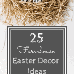 Natural Easter grass nest with black and white Easter eggs with text reading 25 farmhouse easter decor ideas