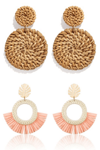 Two different pairs of rattan earrings