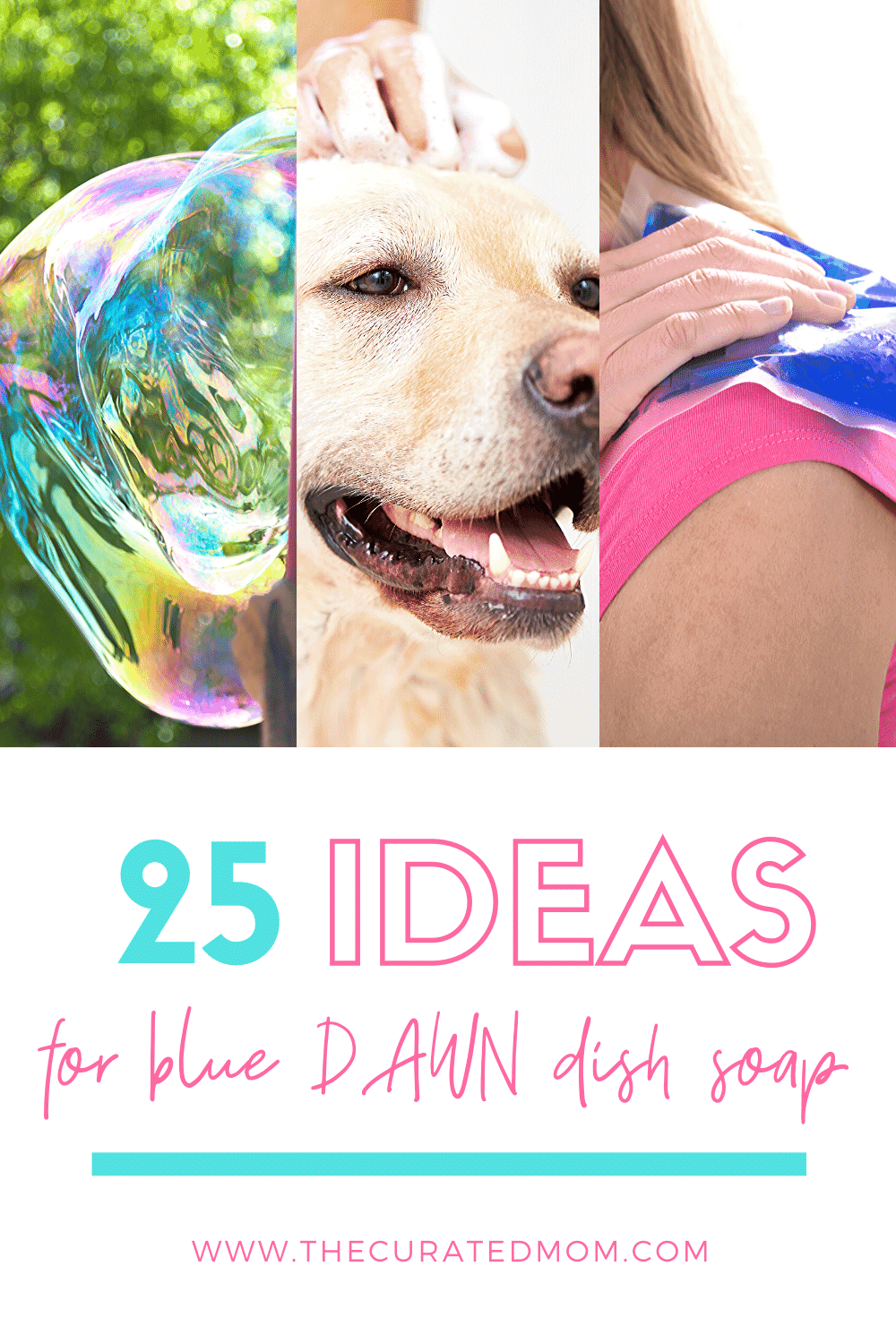 Bubbles, dog being shampooed, and woman with ice pack with text reading 25 ideas for blue dawn dish soap