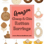 Various rattan earrings with text reading Amazon cheap and chic rattan earrings