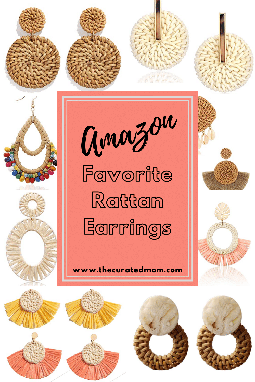 Various rattan earrings with text that reads Amazon Favorite Rattan Earrings