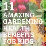 Colorful fresh vegetables with text reading www.thecuratedmom.com 11 amazing gardening health benefits for kids