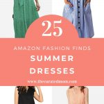 four different women's dress with text reading 25 amazon fashion finds summer dresses