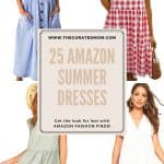 four different women's summer dresses with text reading 25 amazon summer dresses get your look for less with amazon fashion finds