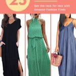 three different summer maxi dresses for women with text reading 25 fun summer dresses get the look for less with amazon fashion finds