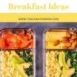 two Bento boxes with pre-made keto breakfasts with text reading quick and easy recipes 8 Quick Keto Breakfast Ideas