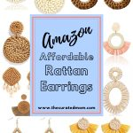 Various pairs of rattan earrings from Amazon with text reading Amazon Affordable Rattan Earrings