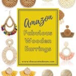 Various wooden rattan earrings from Amazon with text reading Amazon Fabulous Wooden Earrings