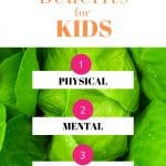 Spinach leaves with text gardening health benefits for kids 1) physical 2) mental 3) emotional