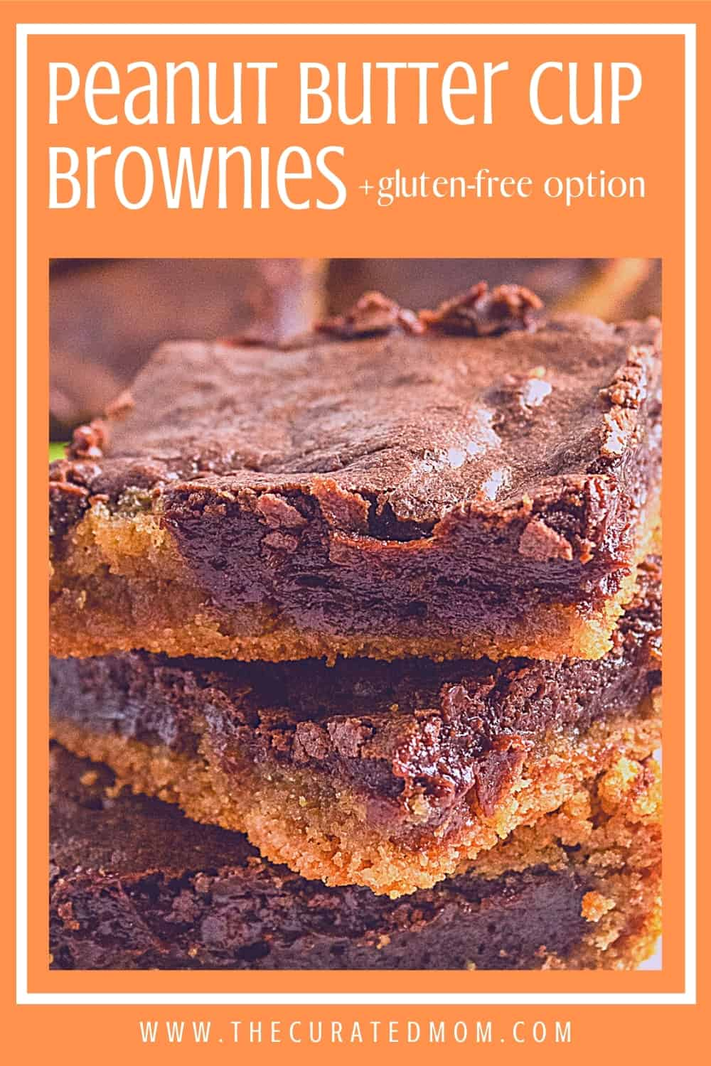 close-up of peanut butter cup brownies